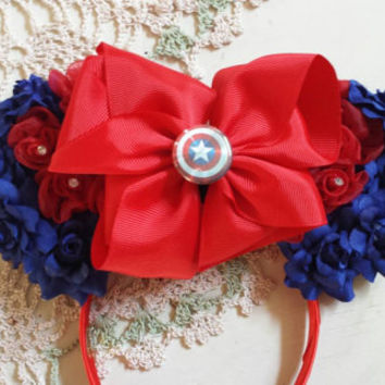 Captain America inspired Flower Ears with red bow