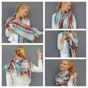 2015 Fashion Trends, Plaid Blanket Scarf, Tartan Plaid Scarves- Fall Winter Fashion Accessory - Men Fashion, Women Fashion, Trending Scarves