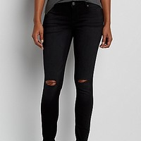 DenimFlex™ jegging in black with slit knees | maurices