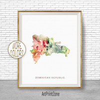 Dominican Republic Map, Office Art Print, Watercolor Map, Map Print, Map Art, Map Artwork, Office Decorations, Country Map, Art Print Zone