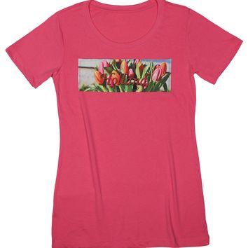 Tulip Time: Lakes and Forests Tulips T-shirt, Hot Pink