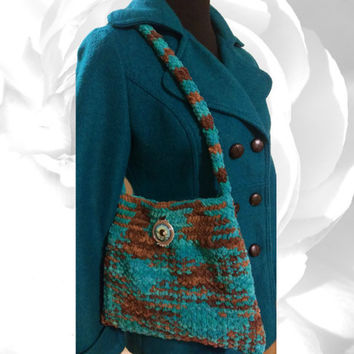 Knitted Purse, Multicolor Bag, Blue Handbag, Brown Handbag, Blue Shoulder Bag, Brown Shoulder Bag, Turquoise Handbag, Teal Handbag, Boho Bag