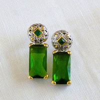 Green Rhinestone Earrings, Emerald Green Baguette Earrings
