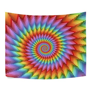 3D Rainbow Skeletons Spiral Psychedelic Tapestry Wall Hanging Trippy Mandala Hippie Boho Tablecloth Wall Decor Art