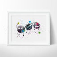 Sprites Spirited Away Watercolor Art Print