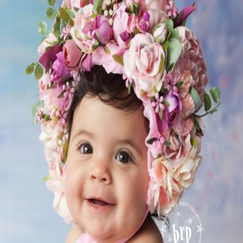 Baby girl Flower Bonnet Handmade Girls Flower Hat Infant Baby Flower Bonnet Newborn Baby Cap  - PRKB114