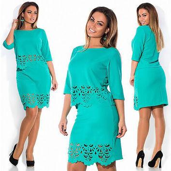 Green Floral Laser Cut Top and Skirt Set
