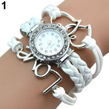 ladies Women's fashion Leather friendship bracelet Love Crystal Dial Quartz Casual Cute wrist Watch awesome = 1956529668