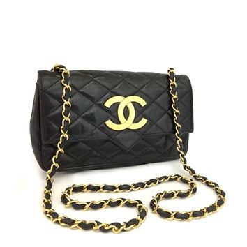 Vintage CHANEL Quilted Matelasse CC Logo Lambskin Chain Shoulder Bag / kADC x