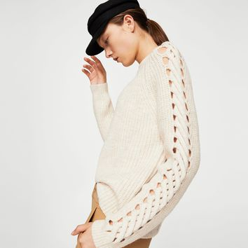 Open work-detail sweater - Women | MANGO USA