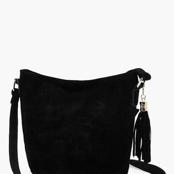 Laura Suedette Bucket Cross Body Bag | Boohoo