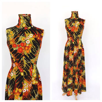 Vintage 1960s 1970s Long Maxi Gown 60s Hippie Dress 70s Avant Garde Groovy Black Graphic Print Diva Prom Gown Size small Turtleneck Dress