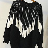 Black Plain Tassel Round Neck Fashion Wool Pullover Sweater