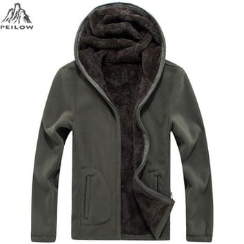 PEILOW Winter Military Fleece Jacket Warm Men Tactical Jacket Thermal Breathable Hooded Men Jackets And Coat Outerwear Clothes