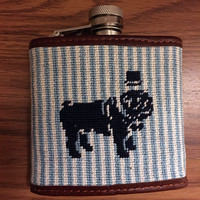 Needlepoint Duke Flask by Smathers & Branson, Blue Seersucker - 50% Off