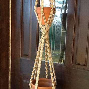 Macrame Plant Hanger, two tier, double hanger in jute color 4 mm Polyolefin cord, vintage style