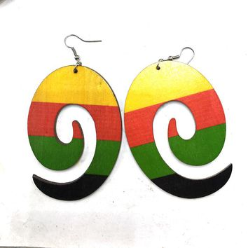 Printing whirling Wooden Earrings