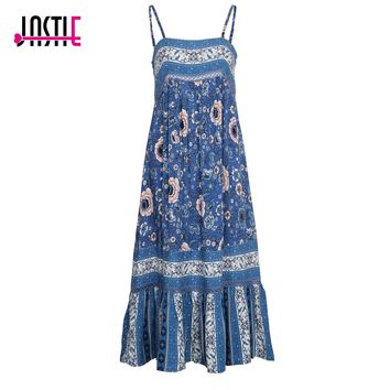 Jastie Vintage Bohemian Navy Floral Midi Dress Sexy Low Back Summer Dresses Patchwork Lace Hem Casual Beach Dress Women Vestidos
