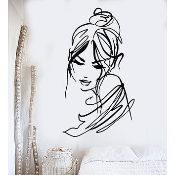 Vinyl Wall Decal Beauty Abstract Sexy Woman Sketch  Drawing Fashion Stickers Mural (g947)