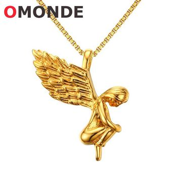 OMONDE New Arrival Gold Silver Color Fairy Girl Angel Wing Pendant Necklace for Women Female Best Friend Stainless Steel Jewelry