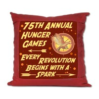 75Th Hunger Games Suede Pillow by thetshirtpainter