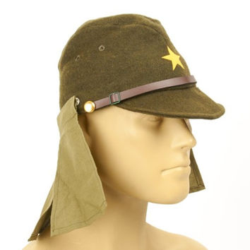 Japanese WWII Army EM/NCO Field Hat with Neck Flaps- Size 7 3/4