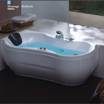 63' Sea Shipping Left Head Rest Whirlpool Bathtub Acrylic Abs Composite Board Piscine Curve Massage Hot Tub W4009