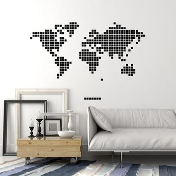 Vinyl Wall Decal World Map Ornament Square Geometric Decor Stickers Mural (g1356)