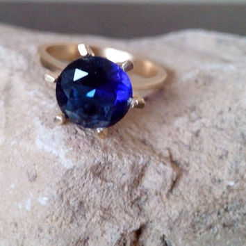 SALE! Navy blue ring, sapphire ring,royal blue jewelry,bridal ring,prong ring,anniversary gift,cocktail ring,gold ring,gemstone ring