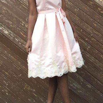 Pink Sashes Lace Pleated Spaghetti Strap Backless Tutu Sweet Midi Dress