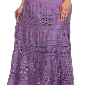 Sakkas Gracie Crochet Lace Tiered Long Cotton Skirt with Fold-Over Waistband