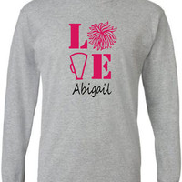 Cheer mom/ Cheer Dad shirt. Personalized with cheerleader's name.  Long sleeve.  Cheer love.