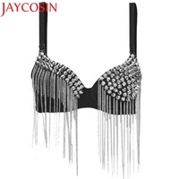Hot Bras for Women New Punk Goth Silver Studded  Bra crop top Party All-over Spike Rivet Tassels Metallic Punk Bra WAug16