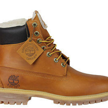 "Timberland Mens Heritage 6"" Boots Fleece Lining Wheat 6065R"