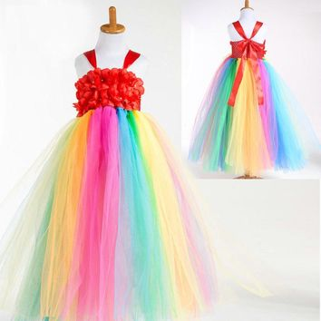 Fashion crochet rainbow colored dresses costume girls tulle party dress kids 12 years