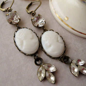 Shabby Cameo Earrings, Long Romantic Dangles, Ivory and Crystal, Victorian Style, Vintage Wedding, Lady Earrings, Shabby Elegant Wedding
