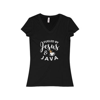 Fueled By Jesus & Java - Women's V-Neck Tee