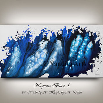Large Original BLUE ABSTRACT PAINTING, Contemporary art , Modern abstract painting , Paining on Canvas, Artwork, Home Decor by Nandita