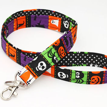 Halloween Lanyard, Cute Neck Strap, Clip ID Holder, small gift - Halloween bats, spiders, skulls, witches and hats, ghosts, pumpkin, bats