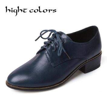 2017 Blue Black Lacing Round Toe Leather Thick Heel Women's Shoes Brogue Women Wing Tip Oxford College Style Flat Shoes US4-10.5