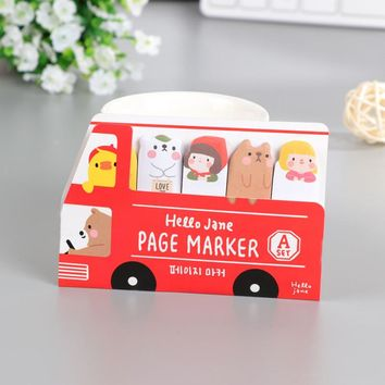cute cartoon bear bus sticky memos pad car sticker planner sticky note pad post it page marker student award promotion gift
