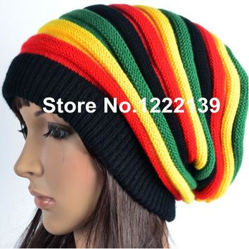 RASTA REGGAE JAMAICAN Beanie Slouchy Wrap Knitted Cap Fashion Hip Hop Bob Marley Style Black Green Yellow Red Stripe Hat