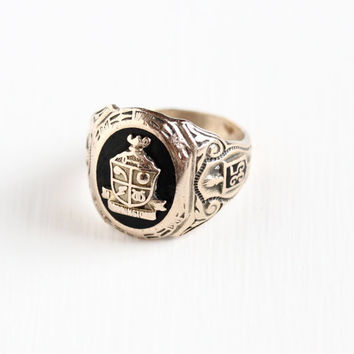 Vintage 10k Rosy Yellow Gold & Sterling Silver School Class Ring - Size 5 Art Deco Dated 1935 Simulated Black Onyx Shield Crest Jewelry