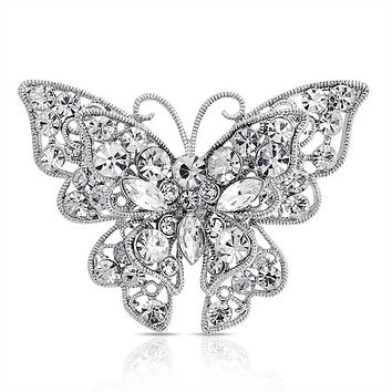 Large Colorless Crystal Butterfly Filigree Brooch Pin Sliver Plated
