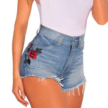 Vintage floral embroidered shorts Fashion Women rose flower embroidery shorts Elastic high waist denim jeans Retro short