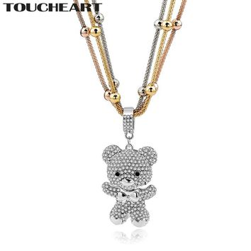 TOUCHEART Love Gold color Statement Necklaces For Women Crystal Bear Beads Long Pendant & Necklace Vintage Jewelry SNE150786