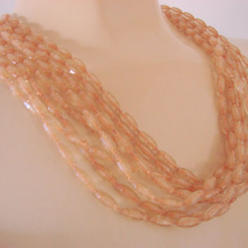 Vintage Multi Strand Light Amber Plastic Bead Necklace Ornate Beaded Clasp Jewelry Jewellery