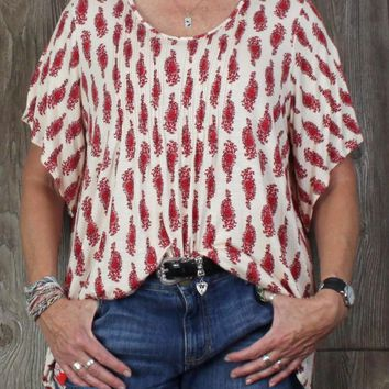 Nice Nanette Lepore Blouse 1x size Red Cream Stretch Top Split Sleeve