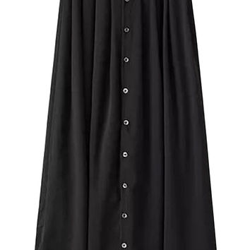 Pleated Buttoned Mid Skirt