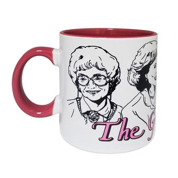The Golden Girls, Pink and White Color Ceramic Coffee Mug, 16 oz, Set of 1